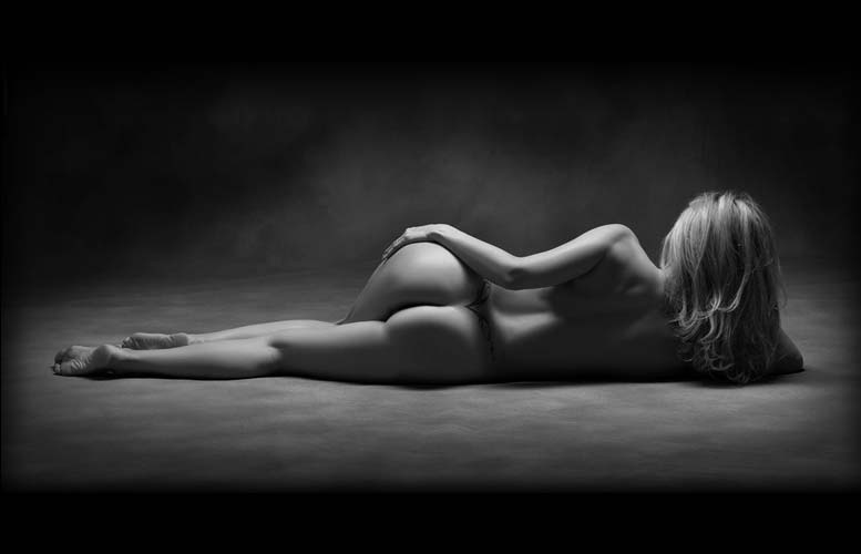 tasteful black and white naked woman